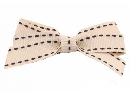 17mm Boutique Bow Ivory Black Stitch