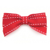 17mm Boutique Bow Red White Stitch