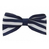 17mm Boutique Bow Wide Navy Stripe