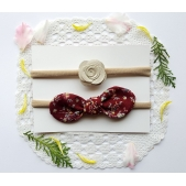 Floral Headband Set - Maroon and Ivory