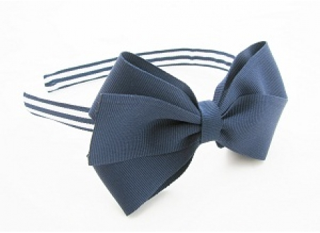 17mm Headband with Large BBow Navy with Stripes