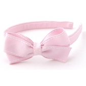 17mm Headband with Medium Bow Pale Pink Stitch