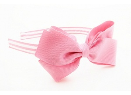 17mm Headband Large BBow Pink with Stripes