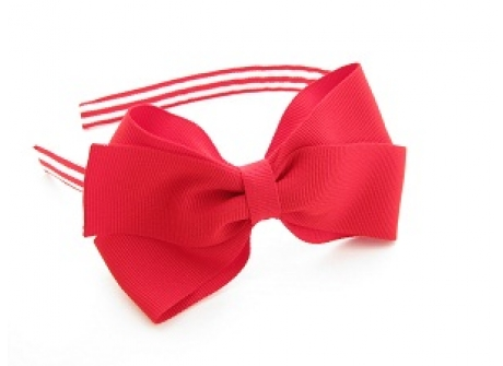 17mm Headband with Large BBow Red Stripes