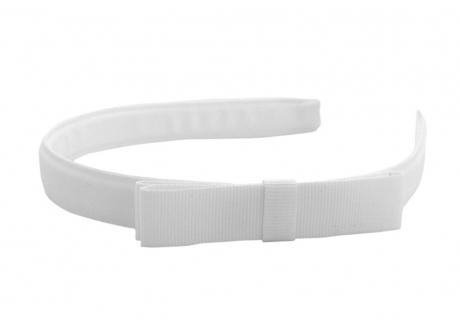 17mm Headband Tuxedo Bow White Grosgrain