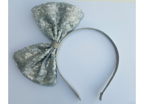 Bow Headband Large Sequin Silver