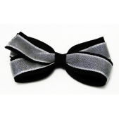 25mm Double Boutique Bow  Silver Black