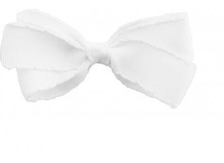 25mm Boutique Bow Vintage Stitch White