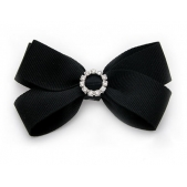 25mm Diamante Boutique Bow Black Grosgrain