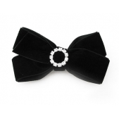 22mm Diamante Boutique Bow Black Velvet