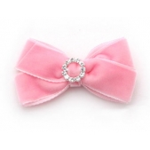 22mm Diamante Boutique Bow Pink Velvet