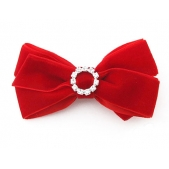 22mm Diamante Boutique Bow Red Velvet
