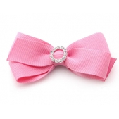 25mm Diamante Boutique Bow Pink Grosgrain