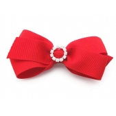 25mm Diamante Boutique Bow Red Grosgrain