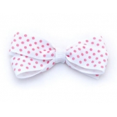 25mm Boutique Bow White Pink Spot
