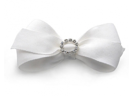 25mm Diamante Boutique Bow White Grosgrain