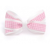 25mm Double Boutique Bow White Pink Gingham