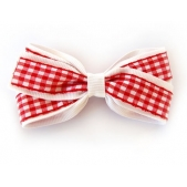 25mm Double Boutique Bow White Red Gingham