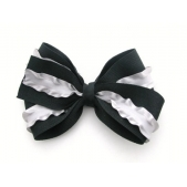 37mm Double Boutique Bow Black Silver Ruffle