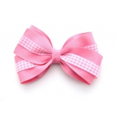37mm Double Boutique Bow Pink Gingham