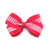 37mm Double Boutique Bow Red Gingham