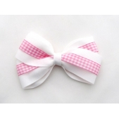 37mm Double Boutique Bow White Pink Gingham