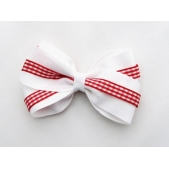 37mm Double Boutique Bow White Red Gingham