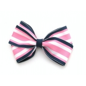 37mm Boutique Bow Navy Pink Stripe