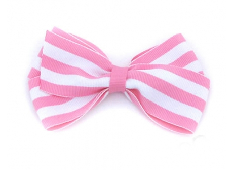 37mm Boutique Bow Pink Stripe