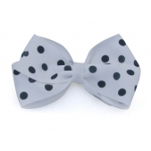 37mm Boutique Bow White Navy Spot
