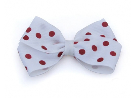 37mm Boutique Bow White Red Spot
