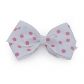 37mm Boutique Bow White Pink Spot