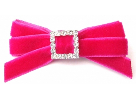 Velvet Diamante 9mm Bow Hot Pink