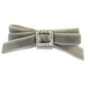 Velvet Diamante 9mm Bow Grey