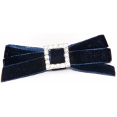 Velvet Diamante 9mm Bow Navy