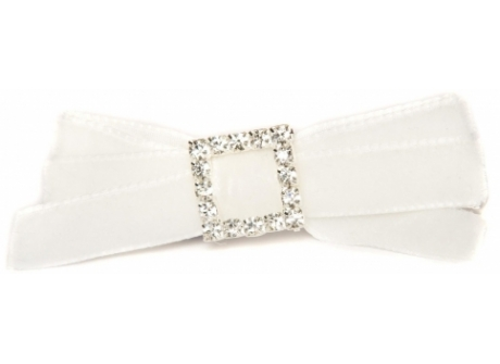 Velvet Diamante 9mm Bow White