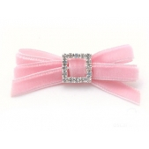 Velvet Diamante 9mm Bow Pink