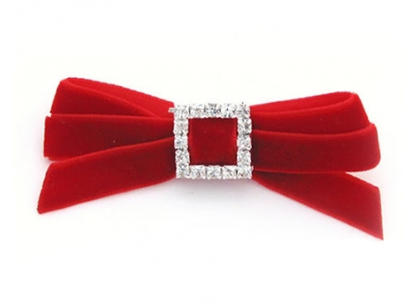 Velvet Diamante 9mm Bow Red