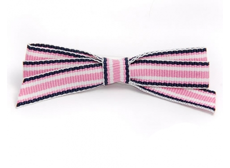 9mm Boutique Bow  Pink Navy Stripe
