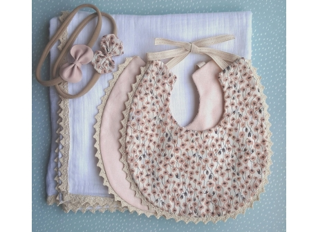 Bib Reversible Poppy Peach