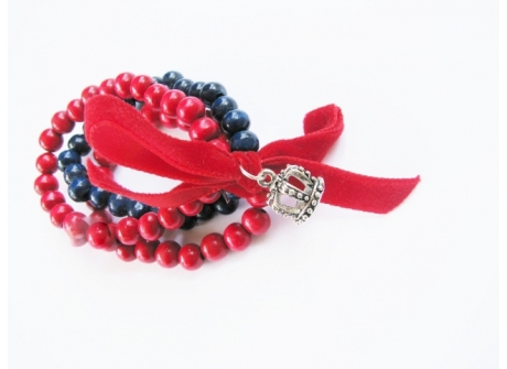 Bracelet Bead with Velvet Bow Red & Navy