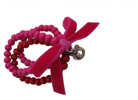 Bracelet Bead with Velvet Bow Hot Pink & Red
