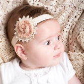Chiffon Rose Doilie Headband Latte