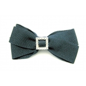 25mm Diamante Boutique Bow Navy Grosgrain