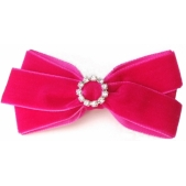 22mm Diamante Boutique Bow Hot Pink Velvet