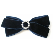 22mm Diamante Boutique Bow Navy Velvet