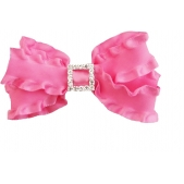 25mm Boutique Bow Ruffle with Diamante Hot Pink