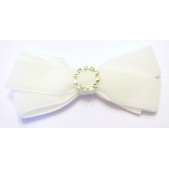 22mm Diamante Boutique Bow White Velvet