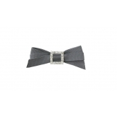 9mm Diamante Bow Dark Grey
