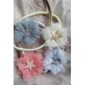 Headband Tulle Flower with Leather Star